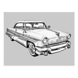 1955 Lincoln Capri Luxury Car Illustration Postcard