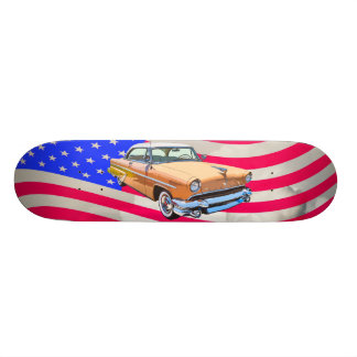 1955 Lincoln Capri With American Flag Skateboard