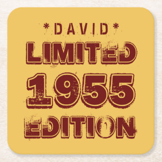 1955 or Any Year Birthday Limited Edition 60th A02 Square Paper Coaster