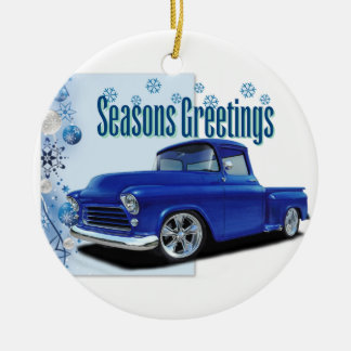 1955 Stepside Season's Greetings Ceramic Ornament