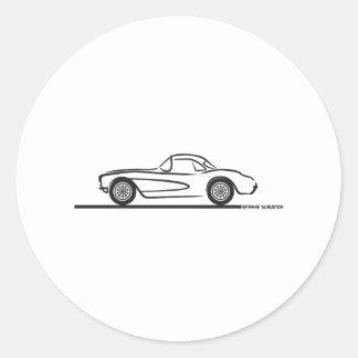 1956 1957 Chevrolet Corvette Hardtop Pegatina Redonda