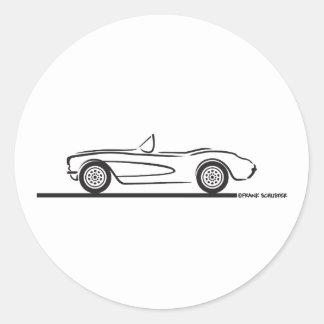 1956 1957 Chevrolet Corvette Pegatina Redonda