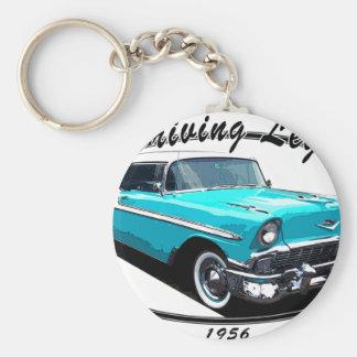1956 BEL AIR BLUE BASIC ROUND BUTTON KEYCHAIN