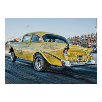 1956 chevy belair gasser at the drag strip poster