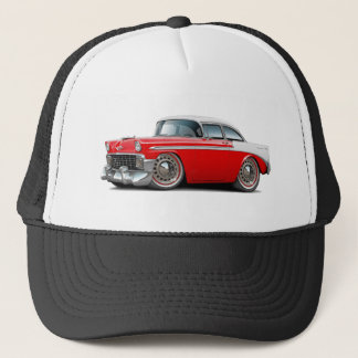 1956 Chevy Belair Red-White Car Trucker Hat