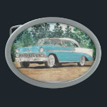 """1956 Chevy Belt Buckle<br><div class=""""desc"""">For the classic car lover... a classic 56 Chevy [watercolor] Customize it with a rectangle buckle,  if you prefer.</div>"""