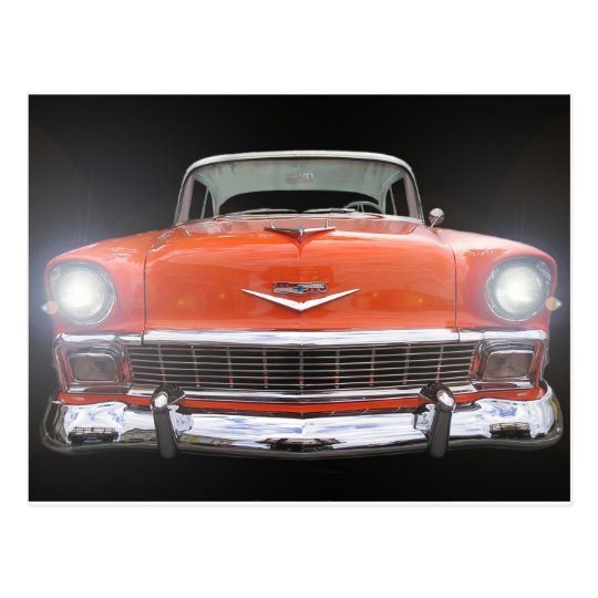 "1956 CHEVY ""LIGHTS ON"" POSTCARD"