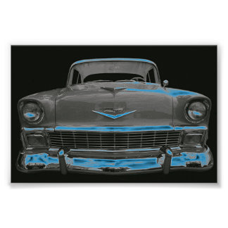 """1956 CHEVY """"NEON BLUE GLOW"""" POSTER"""