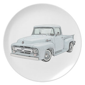 1956 Ford Truck in blue Party Plates
