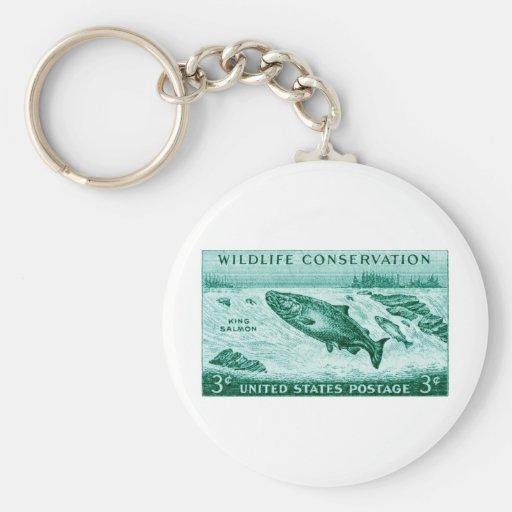 1956 protección de la fauna, salmón llavero personalizado