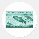 1956 protección de la fauna, salmón pegatinas redondas