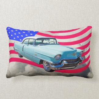 1956 Sedan Deville Cadillac And American Flag Throw Pillow
