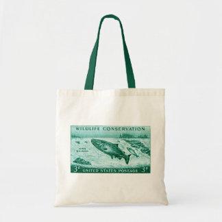 1956 Wildlife Conservation, Salmon Tote Bag