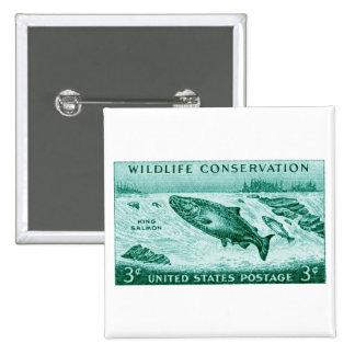 1956 Wildlife Conservation, Salmon Pinback Button