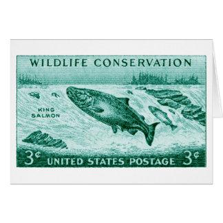 1956 Wildlife Conservation, Salmon Greeting Card