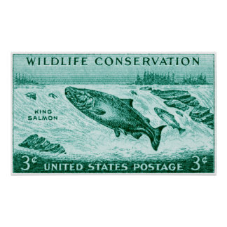 1956 Wildlife Conservation, Salmon Posters