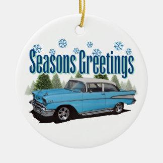 1957 Bel Air Season's Greetings Ceramic Ornament