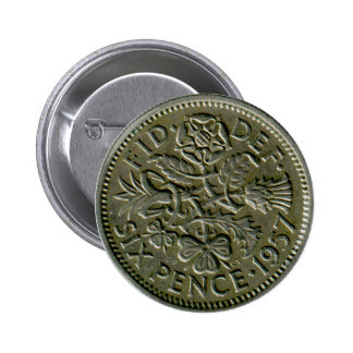 1957 British sixpence button