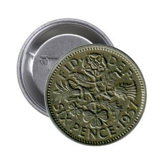 1957 British sixpence button