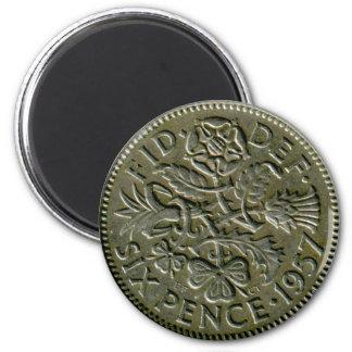 1957 British sixpence magnet