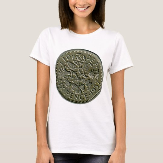 1957 British sixpence t-shirt