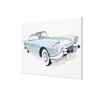 1957 Cadillac with silhouette of driver inside Canvas Print
