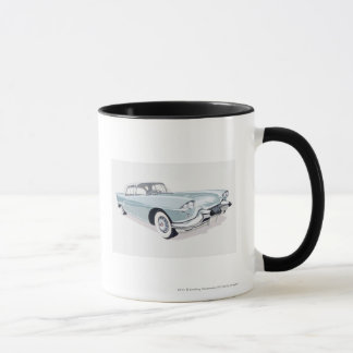1957 Cadillac with silhouette of driver inside Mug