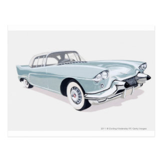 1957 Cadillac with silhouette of driver inside Postcard