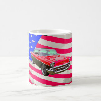 1957 Chevrolet Bel Air And American Flag Coffee Mug