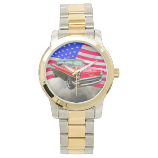1957 Chevrolet Bel Air And American Flag Watches