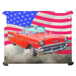 1957 Chevrolet Bel Air And US Flag iPad Case