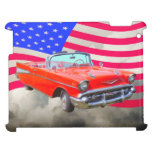 1957 Chevrolet Bel Air And US Flag iPad Cover