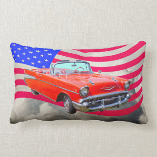 1957 Chevrolet Bel Air And US Flag Pillows