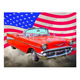 1957 Chevrolet Bel Air And US Flag Postcard