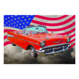1957 Chevrolet Bel Air And US Flag Poster