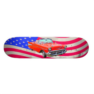 1957 Chevrolet Bel Air And US Flag Skateboard Deck