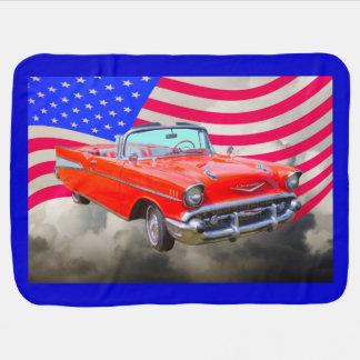 1957 Chevrolet Bel Air And US Flag Stroller Blanket