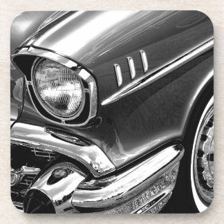 1957 Chevrolet Bel Air Black & White Drink Coaster