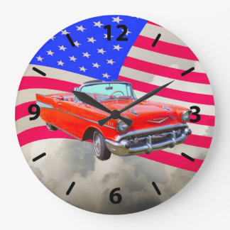 1957 Chevrolet Bel Air Classic Car And US Flag Large Clock