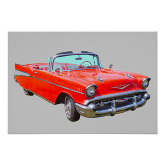 1957 Chevrolet Bel Air Convertible Antique Car Poster