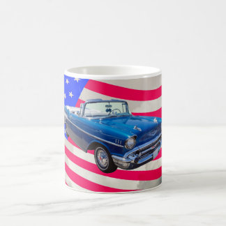 1957 Chevrolet Bel Air with American Flag Coffee Mug