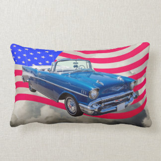 1957 Chevrolet Bel Air with American Flag Throw Pillow