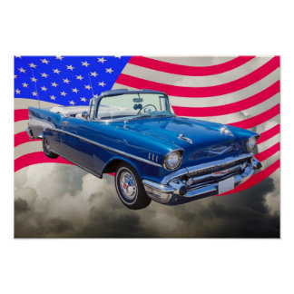 1957 Chevrolet Bel Air with American Flag Poster