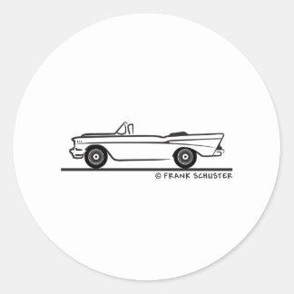 1957 Chevrolet Convertible 2-10 Bel Air Classic Round Sticker