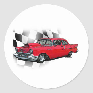 1957 Chevrolet Dragster Classic Round Sticker