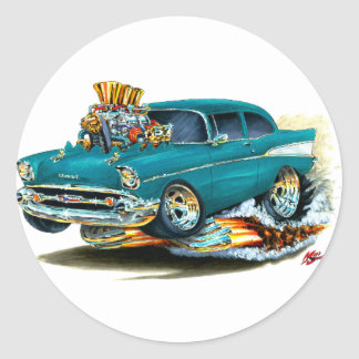 1957 Chevy 150-210 Teal Car Classic Round Sticker