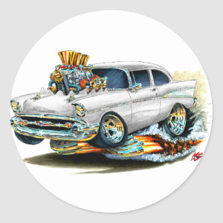 1957 Chevy 150-210 White Car Classic Round Sticker
