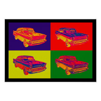 1957 Chevy Bel Air Car Pop Art Poster