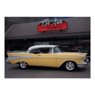 1957 Chevy Bel Air Chevrolet Classic Car Drive In Poster