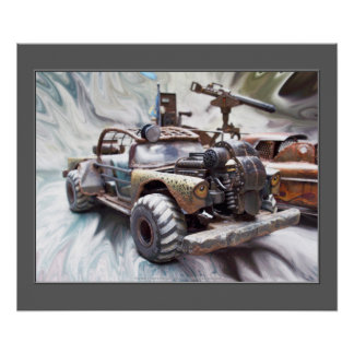 1957 Chevy Bel Air, Classic Apocalptic Rat Rod Car Poster